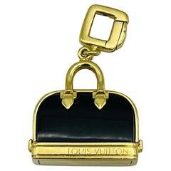 Vintage Louis Vuitton Yellow Gold and Enamel Purse Charm