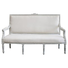 Vintage Louis XV Style Carved and Painted French Settee Sofa
