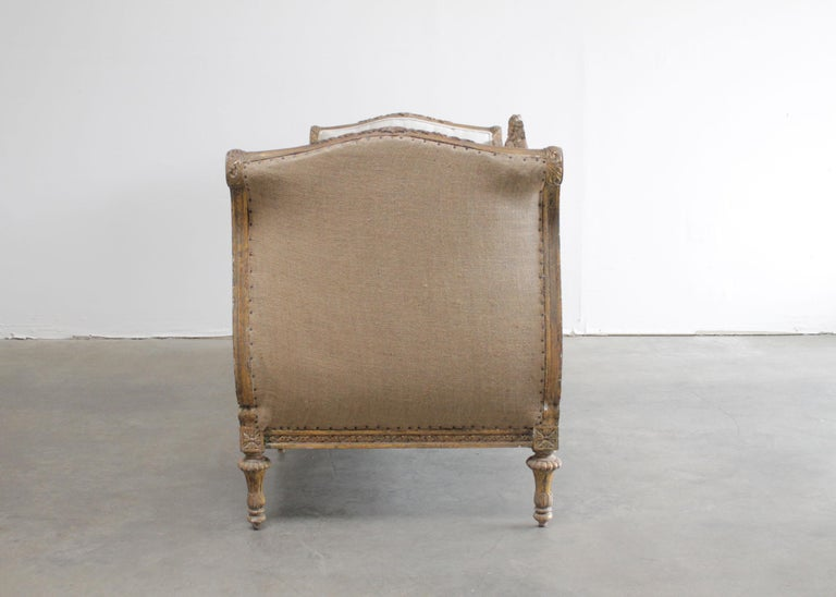 Vintage Louis XVI Style French Giltwood Sofa In Good Condition For Sale In Brea, CA