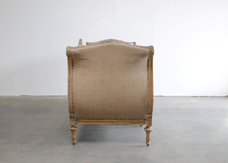 Linen Vintage Louis XVI Style French Giltwood Sofa For Sale