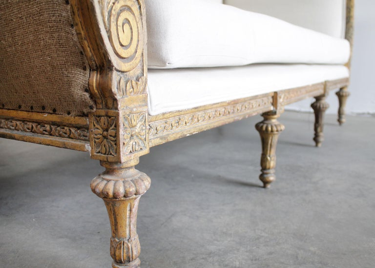 Vintage Louis XVI Style French Giltwood Sofa For Sale 1