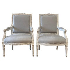 Vintage Louis XVI Style Open Arm Chairs in Leather
