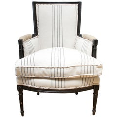 Vintage Louis XVI Style Painted and Upholstered Bergère Chair in French Linen