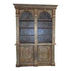 Vintage Louis XVI Style Painted Bookcase