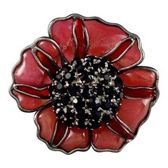 Vintage LOULOU de la FALAISE GRIPOIX Clustered Rhinestone Flower Pendant Brooch
