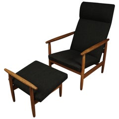 Vintage Lounge Chair and Ottoman Designed by Elvind Johansson, Denmark, 1960s
