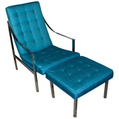 Vintage Lounge Chair and Ottoman Redone in Turquoise