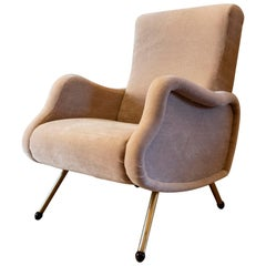Vintage Lounge Chair, Italy 1950s, Reupholstered in Pierre Frey Velvet Mohair
