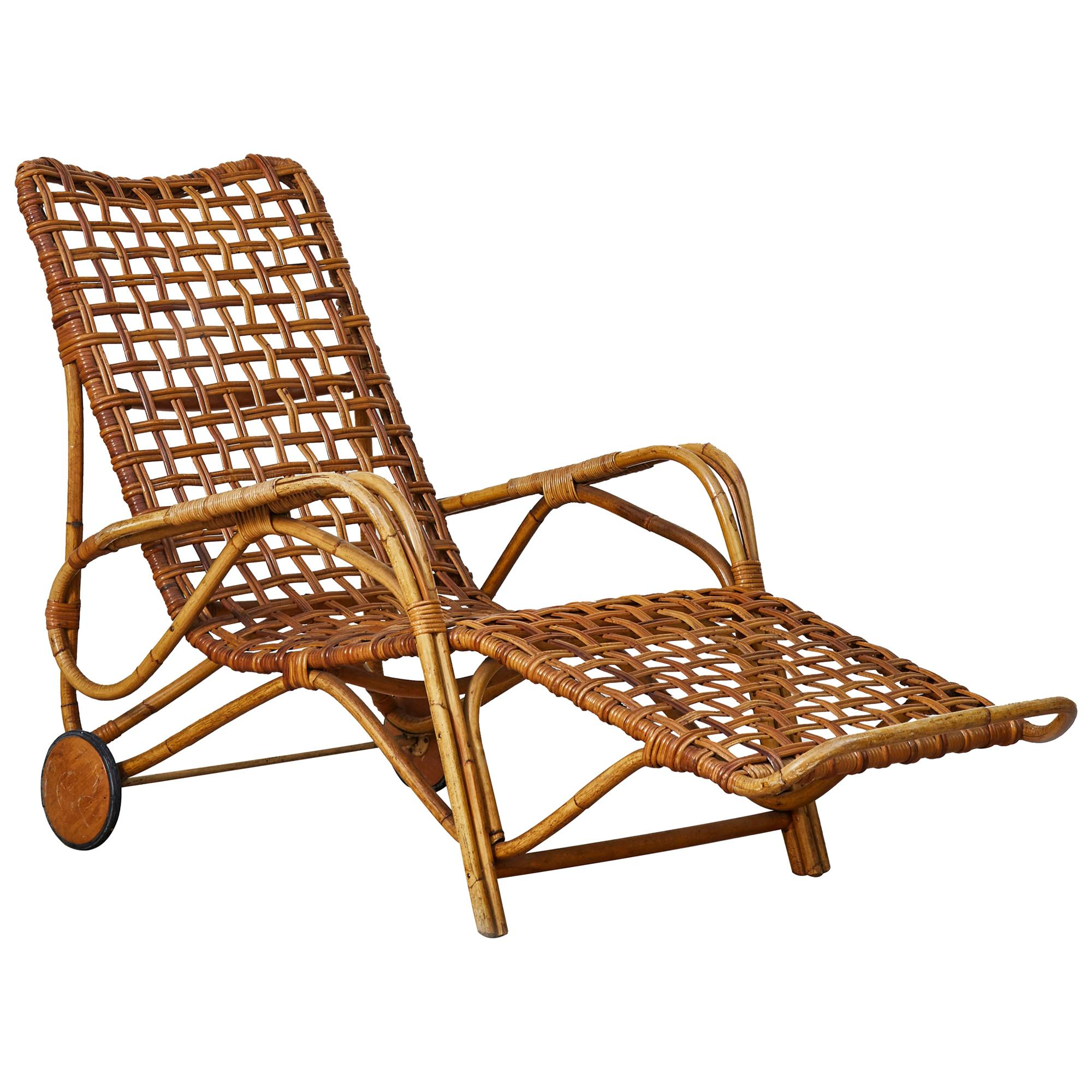 Vintage Lounge Chairs in Rattan