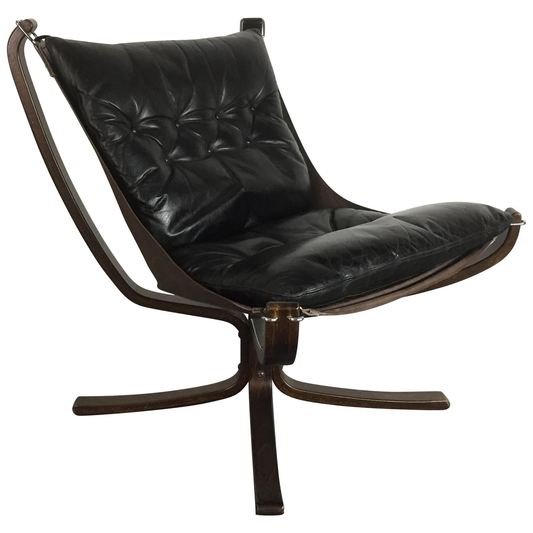 Norwegian vintage office chair Ring Mekanikk Vintage Low Back Black Leather Falcon Chair Designed By Sigurd Resell For Sale Antiques Atlas Vintage Low Back Black Leather Falcon Chair Designed By Sigurd