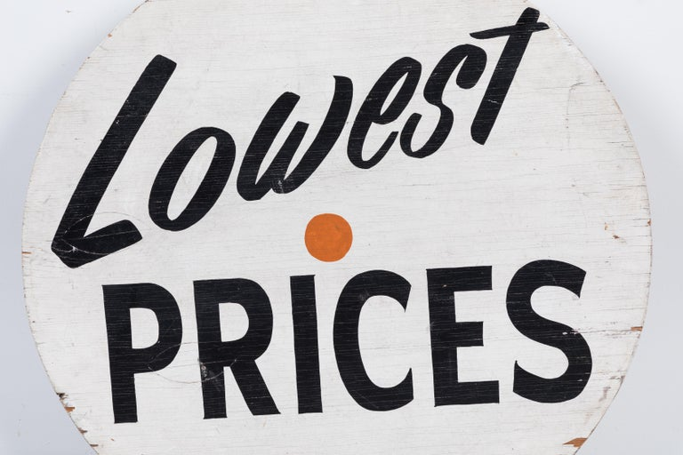 Great kitchen conversation piece. Grocery store in market advertising trade sign, circa 1950s. Simple and too the point. Looks to be painted by the hand of a skilled sign painter.