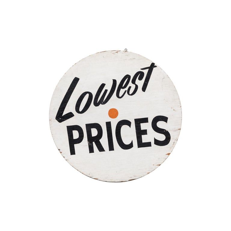 "Vintage ""Lowest Prices"" Grocery Market Trade Sign For Sale"