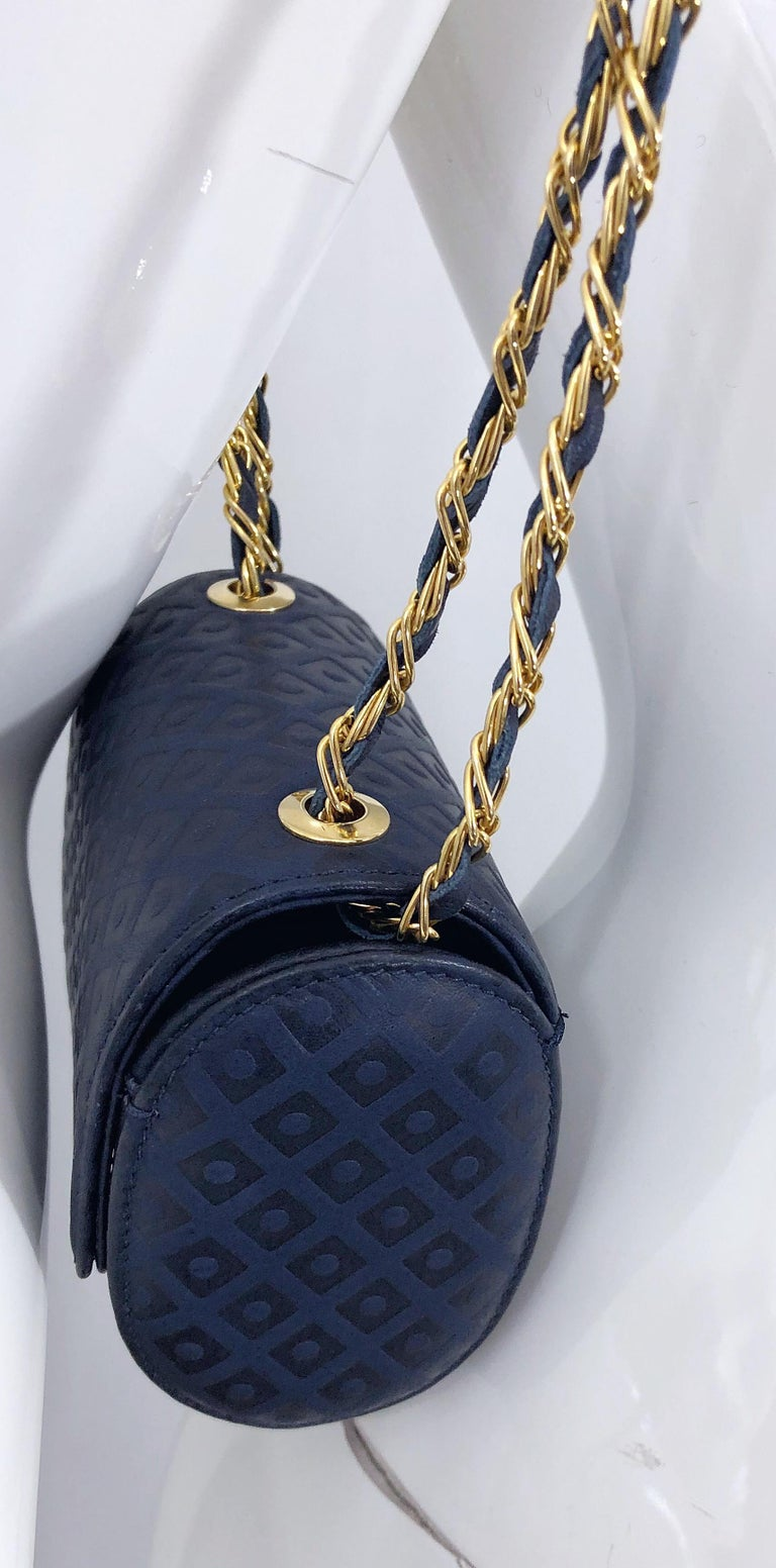 Vintage Luc Benoit Navy Blue Leather Small Embossed Crossbody Hand Bag Purse For Sale 5