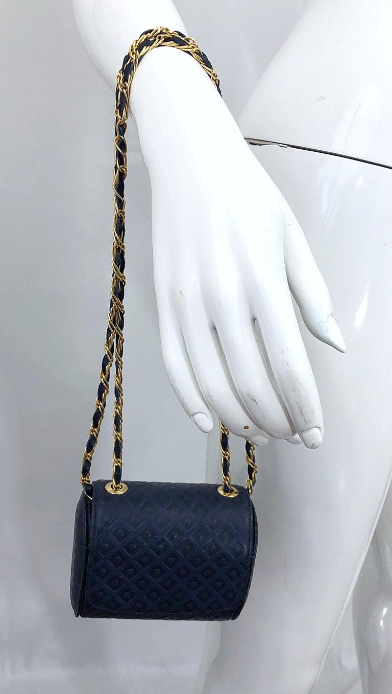Vintage Luc Benoit Navy Blue Leather Small Embossed Crossbody Hand Bag Purse For Sale 1