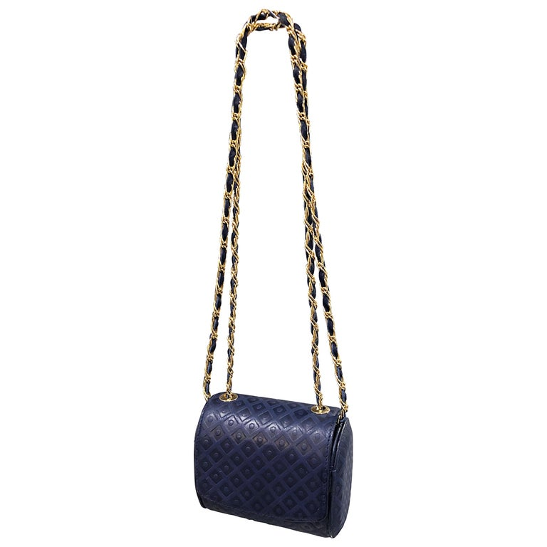 Vintage Luc Benoit Navy Blue Leather Small Embossed Crossbody Hand Bag Purse For Sale