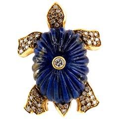 Vintage Lucien Piccard 18 Karat Gold and Lapis Lazuli Turtle Pin