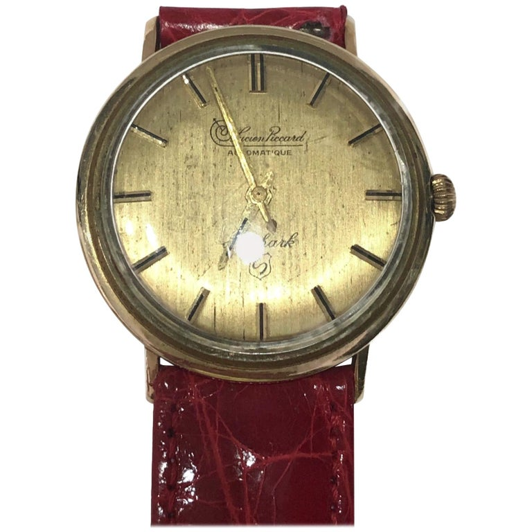 Vintage Lucien Piccard Automatic 14 Karat Gold Wrist Watch with Crocodile Band For Sale