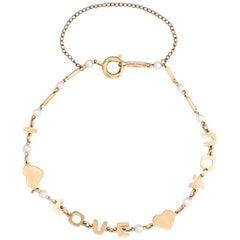 Vintage Lucien Piccard i Love You Bracelet 14 Karat Gold Pearl Estate Jewelry