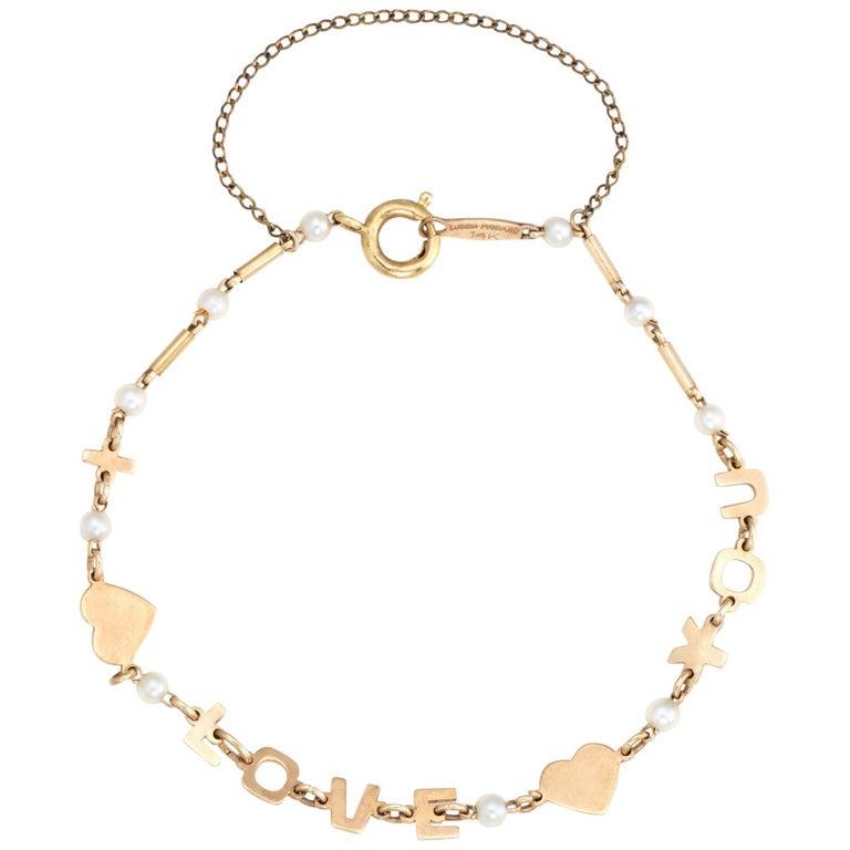 Vintage Lucien Piccard i Love You Bracelet 14 Karat Gold Pearl Estate Jewelry For Sale