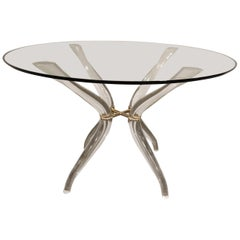 Vintage Lucite and Brass Dining Table, 1980s