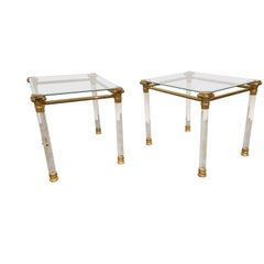 Vintage Lucite and Brass Side Tables, 1980s