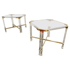 Vintage Lucite and Brass Side Tables by Charles Hollis Jones, 1970s