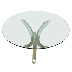 Vintage Lucite and Glass Pedestal Table