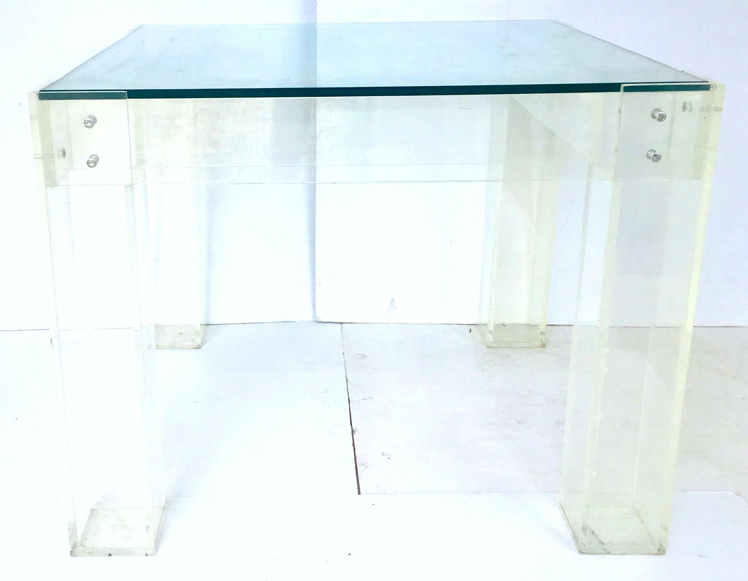 Vintage Lucite Box Leg Gl Top Side Table