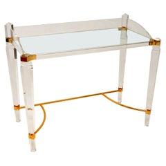 Vintage Lucite, Brass & Glass Desk / Dressing Table
