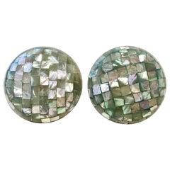 Vintage Lucite Cased Abalone Confetti Mosaic Disc Earrings