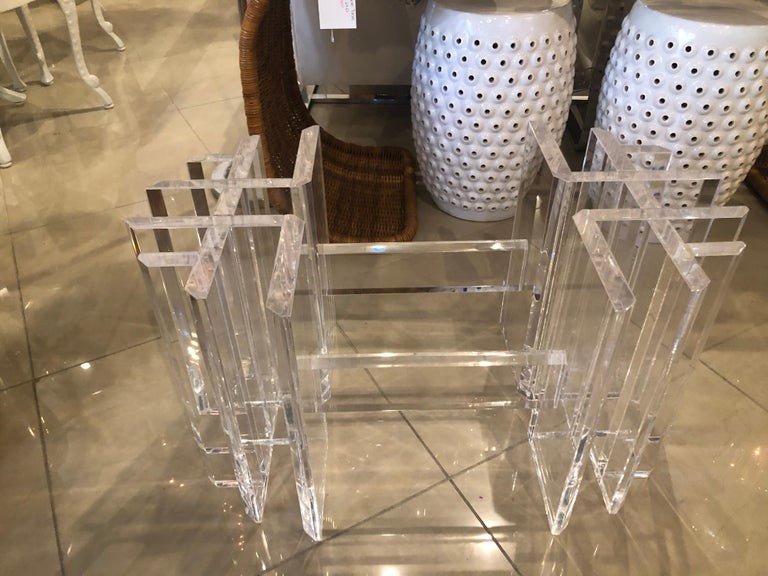 American Vintage Lucite Coffee Cocktail Table Geometric Hollywood Regency For Sale