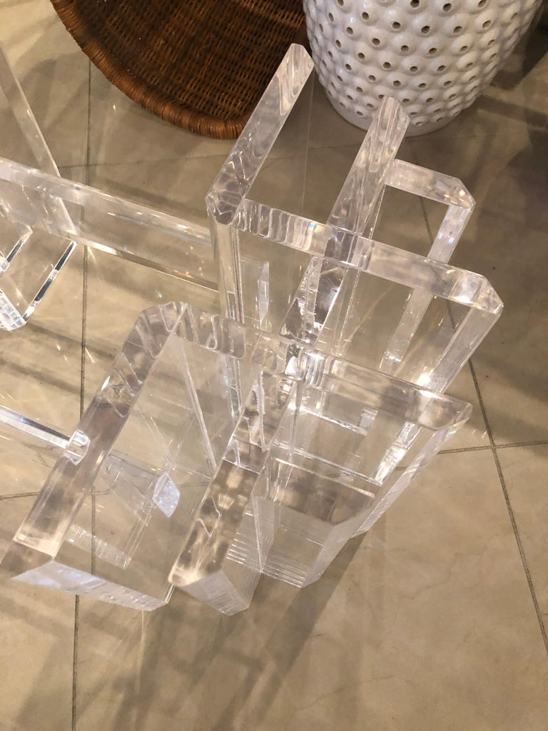 Vintage Lucite Coffee Cocktail Table Geometric Hollywood Regency For Sale 2