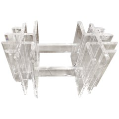 Vintage Lucite Coffee Cocktail Table Geometric Hollywood Regency