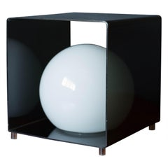 Vintage Smoked Lucite Cube Globe Lamp