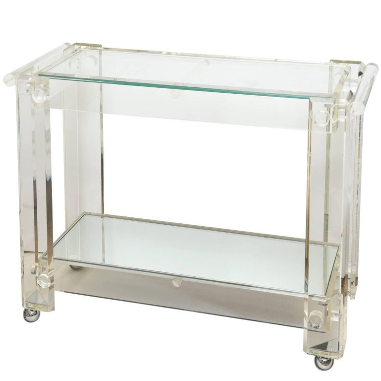 Vintage Lucite Mirrored and Glass Two-Tier Bar Cart or Trolley / SALE For Sale