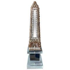Vintage Lucite Shell Seashell Mirror Obelisk