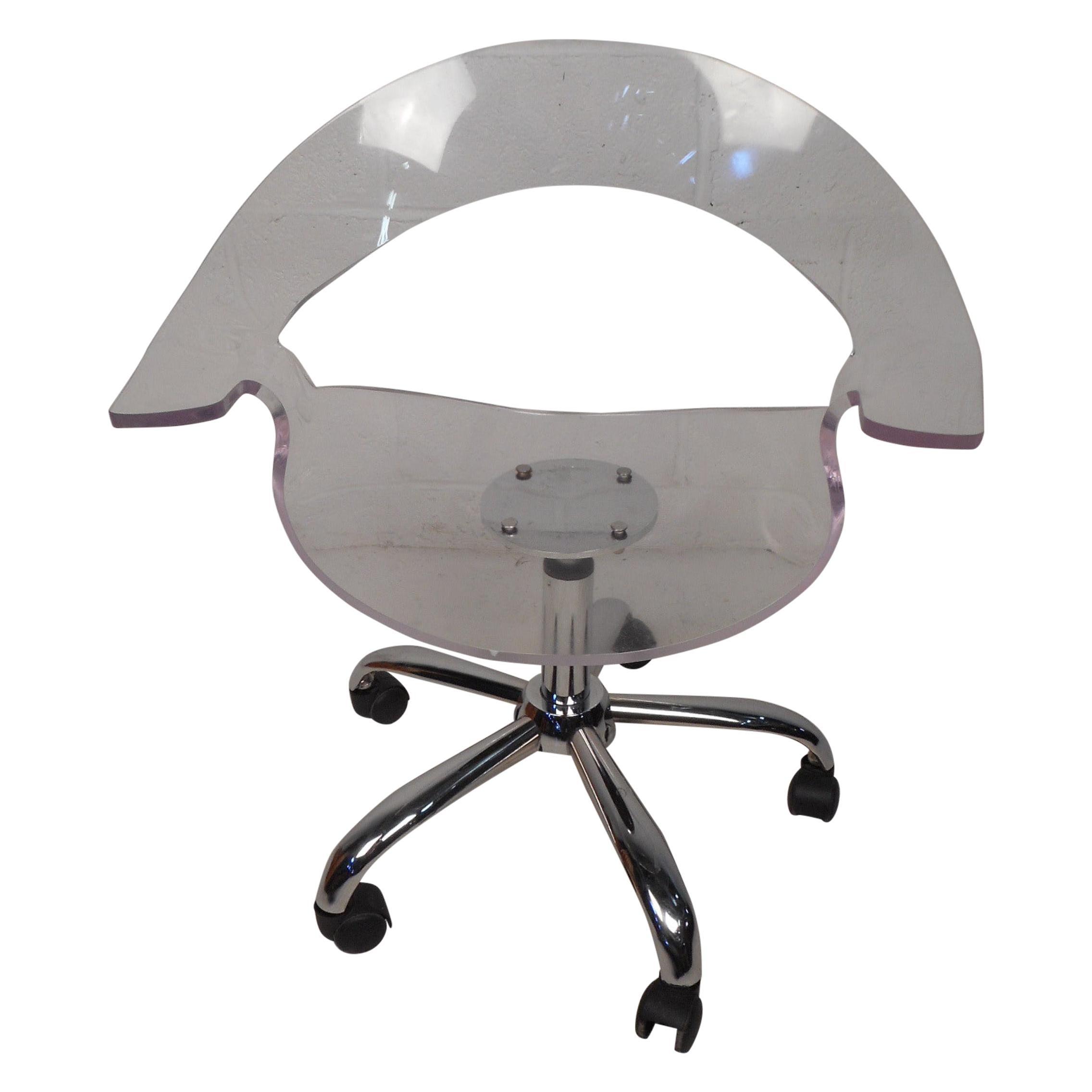 Stunning 1960 S Lucite Desk Chair On Chrome Swivel Base At 1stdibs
