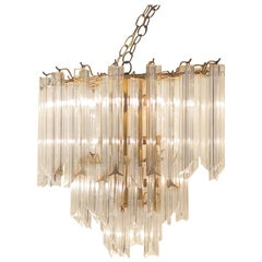 Vintage Lucite Three-Tier Chandelier, Triedre Style Hanging Lucite Regency Light