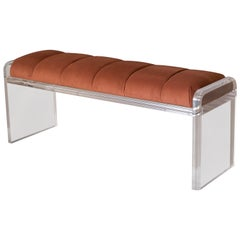 Vintage Lucite Tufted Copper Bench