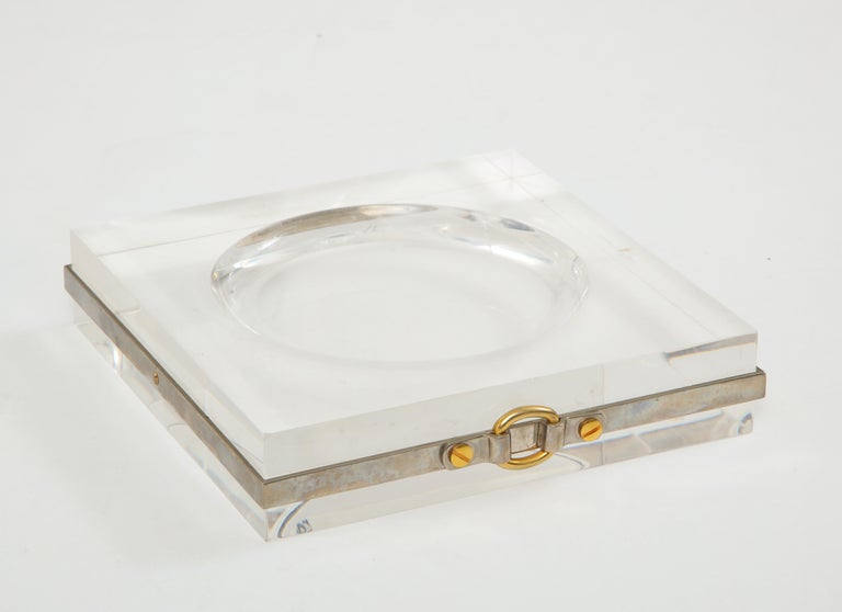 Vintage Lucite Vide Poche with Nickel Band and Brass Buckle Detail, France 1970s For Sale 2