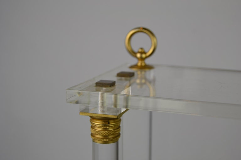 Brass Vintage Lucite Wall Rack or Open Showcase For Sale
