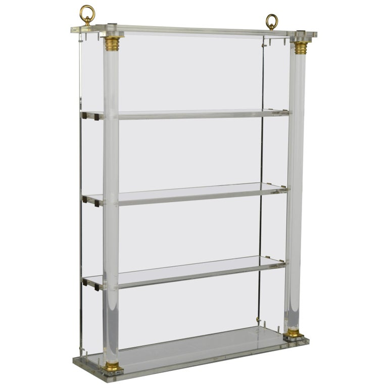 Vintage Lucite Wall Rack or Open Showcase For Sale