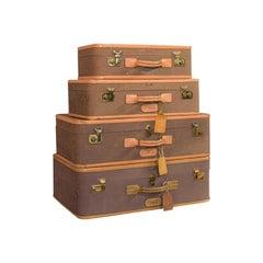 Vintage Luggage Set, American, Leather, Set of 4, Suitcase, T Anthony, New York