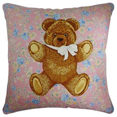 "Vintage Luxury 1980's Silk Cushion ""Moon Palace Bear"" Bespoke Made in London"