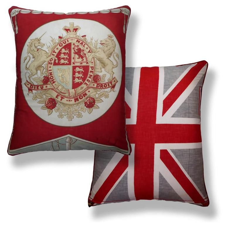 Organic Modern Vintage Luxury Cushions 'Dieu et Mon Droit' Bespoke Collectable Pillow Cushion For Sale