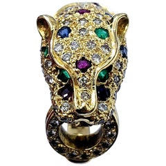 Vintage Luxury Panther Ring with 1.24 Carat Rubys, Emeralds Sapphires & Diamonds