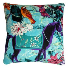 "Vintage Luxury Silk Cushion ""Equus Blue"" Bespoke pillow - Made in London"