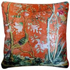 Vintage Luxury Silk Cushion 'Golden Pheasant' Bespoke pillow - Made in London