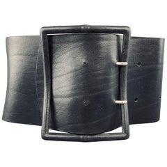 Vintage M Black Leather Oversized Corset Waist Belt
