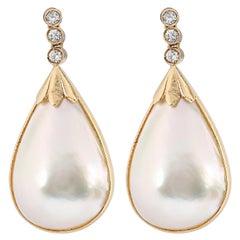 Vintage Mabé Pearl and Diamond Drop Earrings